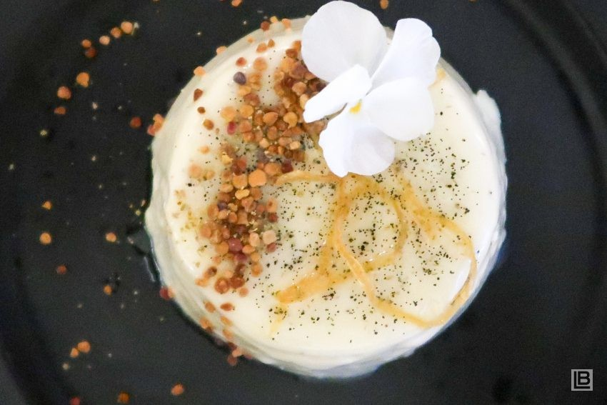 FENNEL POLLEN PANNACOTTA WITH ORANGE-BLOSSOM HONEY AND WHITE CHOCOLATE