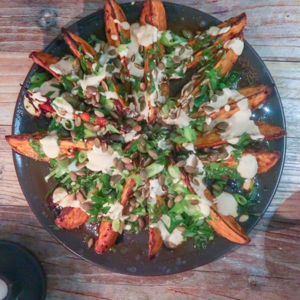 Sweet potato salad with coriander oil and spicy yogurt