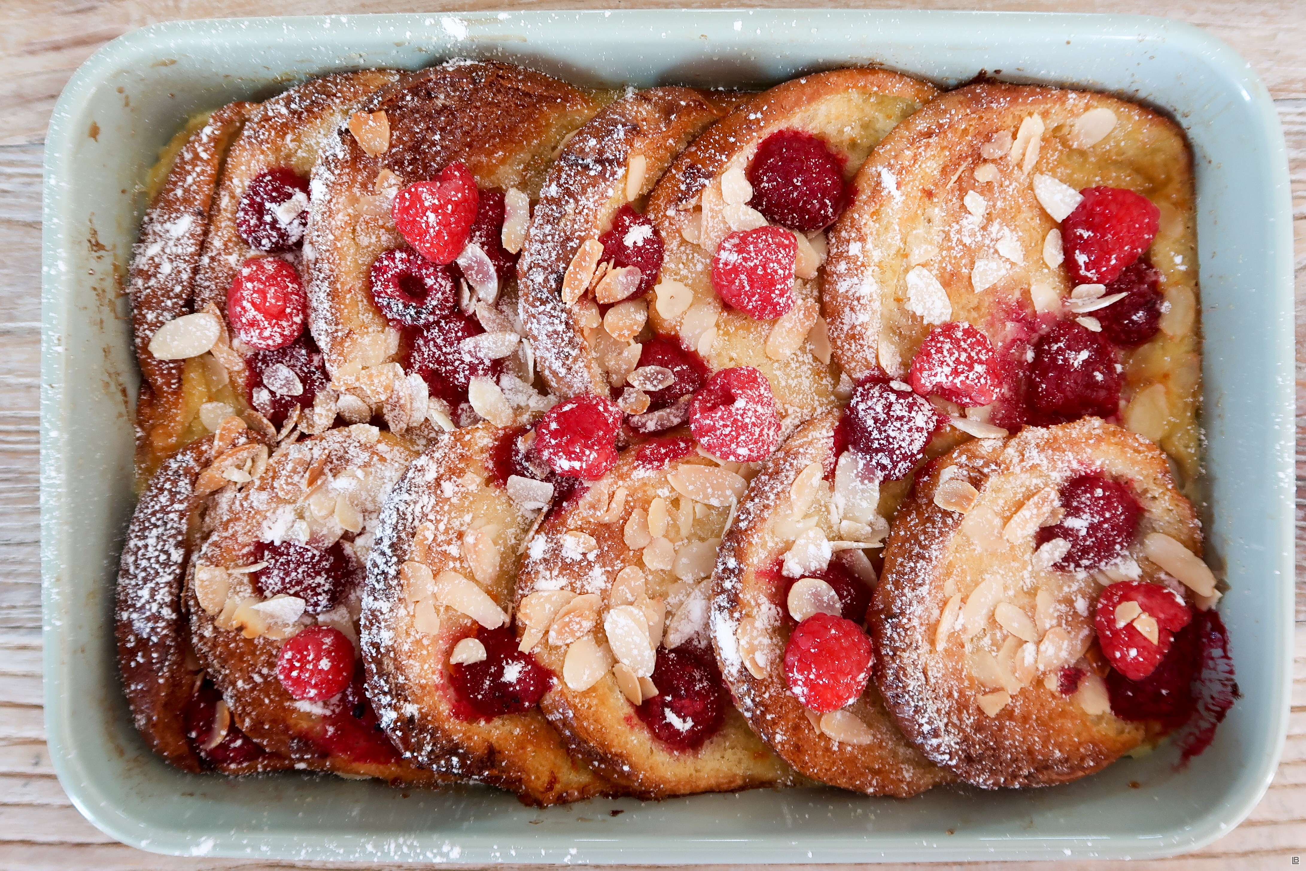 RASPBERRY AND ALMOND BREAD AND BUTTER PUDDING