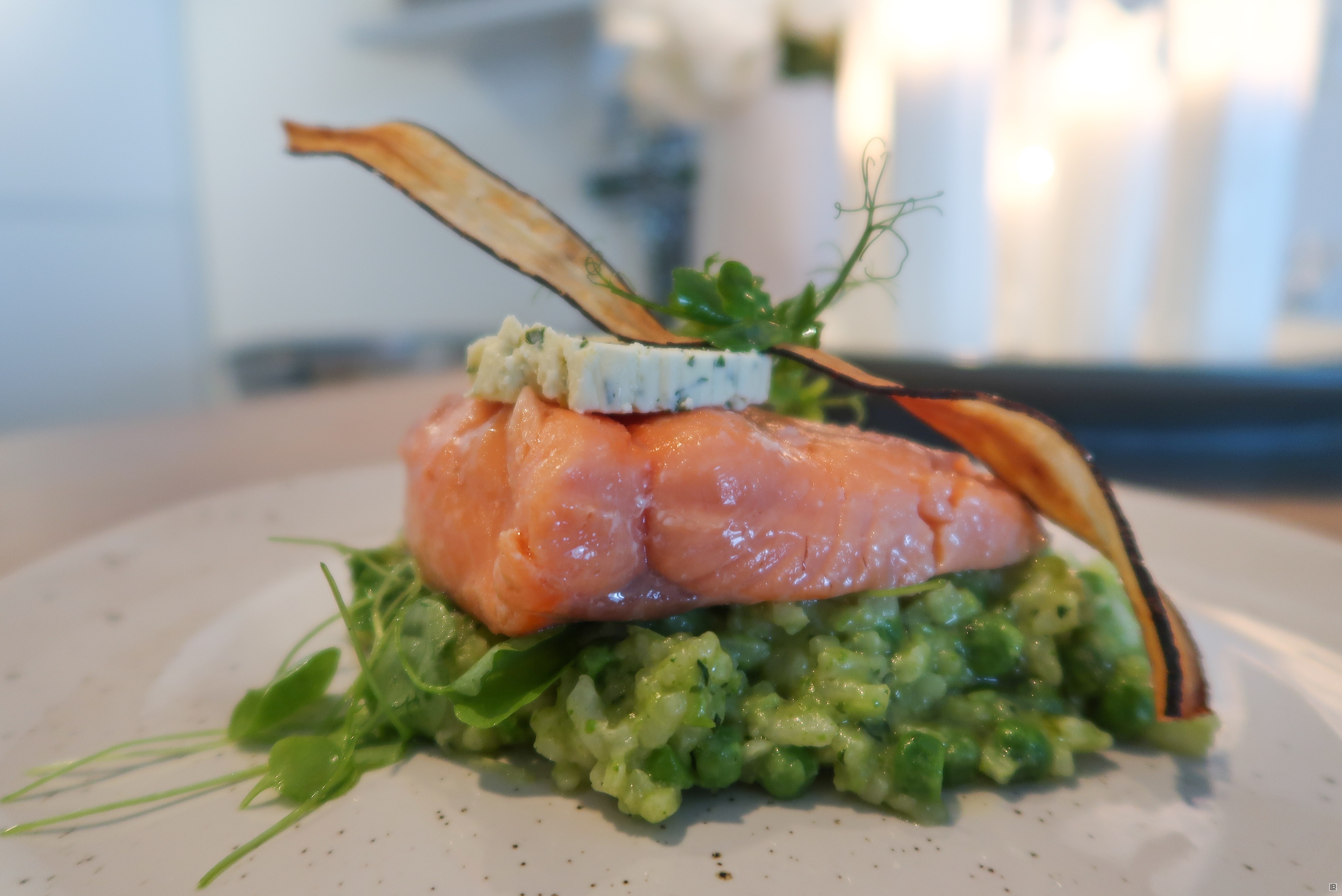 BROWN BUTTER SOUSVIDE SALMON WITH PEA RISOTTO